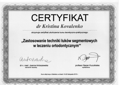 ortodonta Kovalenko Kristina certyfikat 12