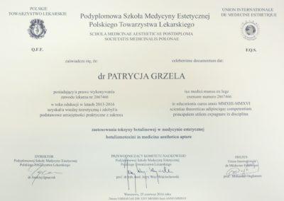 Dyplom Grzela Patrycja Demed Botoks