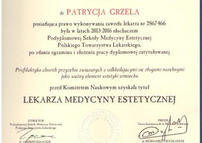 Dyplom Grzela Patrycja Demed Medycyna Estetyczna