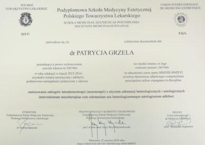 Dyplom Grzela Patrycja Demed Mezoterapia